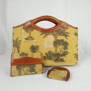 3 pc. Palm Tree Clutch Purse Set Tommy Bahama